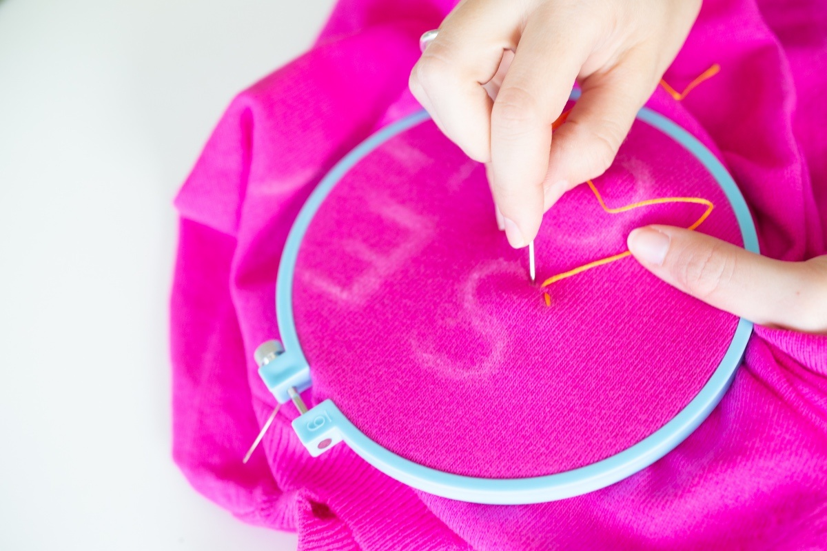 make small stitches with the embroidery floss hand sewn sweater