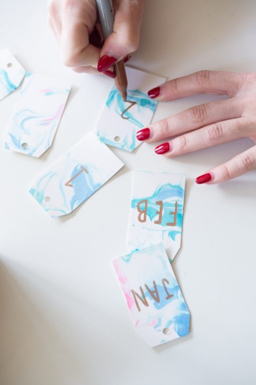marbled paper gift tag calendar diy pop shop america