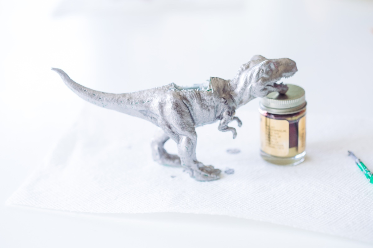 silver gilded dinosaur diy planter arts and crafts subscription box