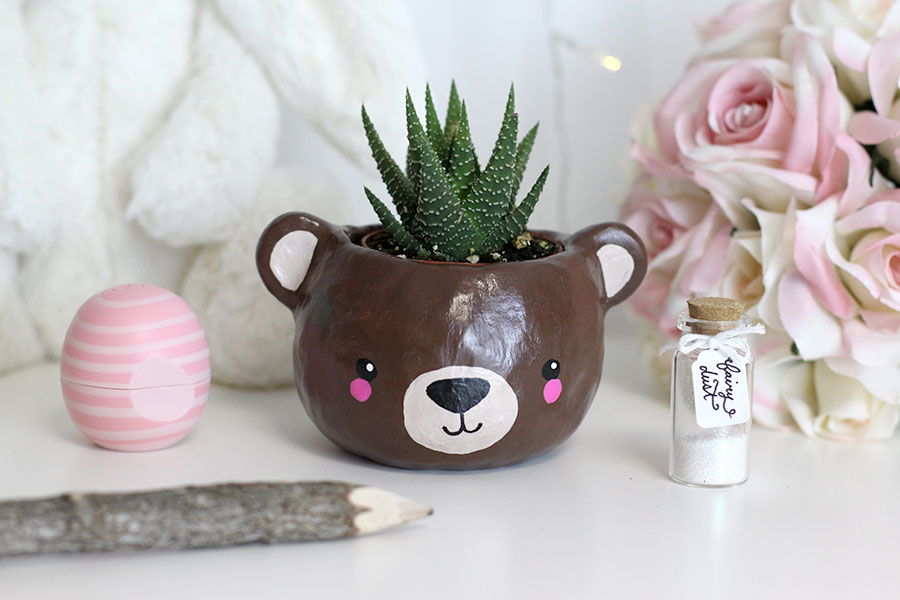 Animal+bear+head+polymer+clay+planter,+super+cute