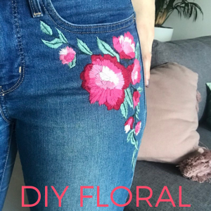 DIY Floral Embroidered Denim Jeans Tutorial Pop Shop America