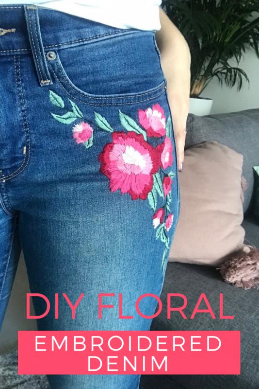 DIY Floral Embroidered Denim Jeans Tutorial Pop Shop America