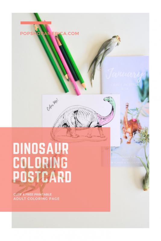 Dinosaur coloring postcard pop shop america