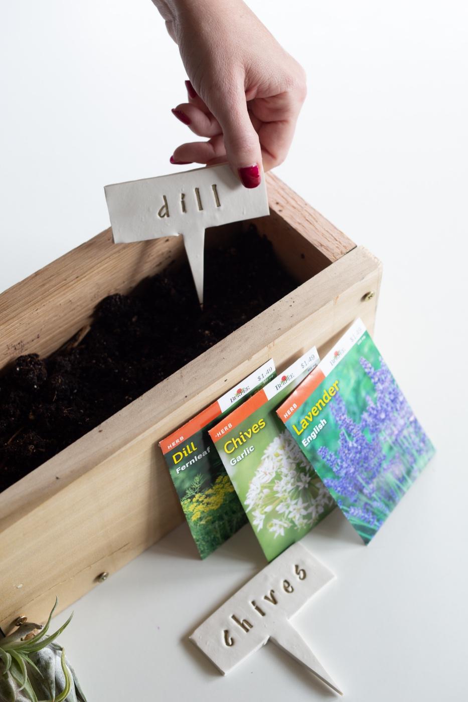 cedar wood planter box with clay garden markers pop shop america