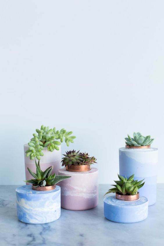 diy marbled and ombre concrete planters