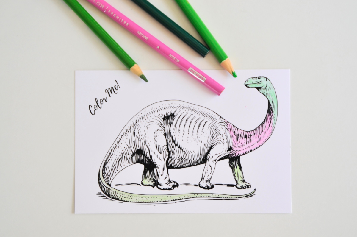up close with prismacolors dinosaur coloring sheet pop shop america