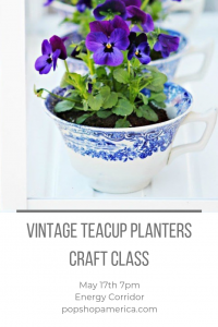 vintage teacup planters craft class by pop shop america
