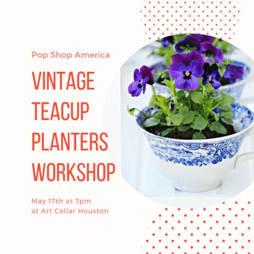 vintage teacup planters gardening class houston pop shop america