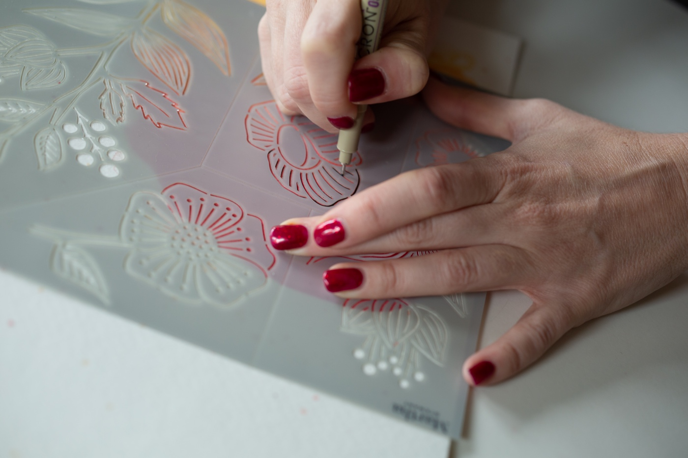detail of how to use the watercolor stencils pop shop america