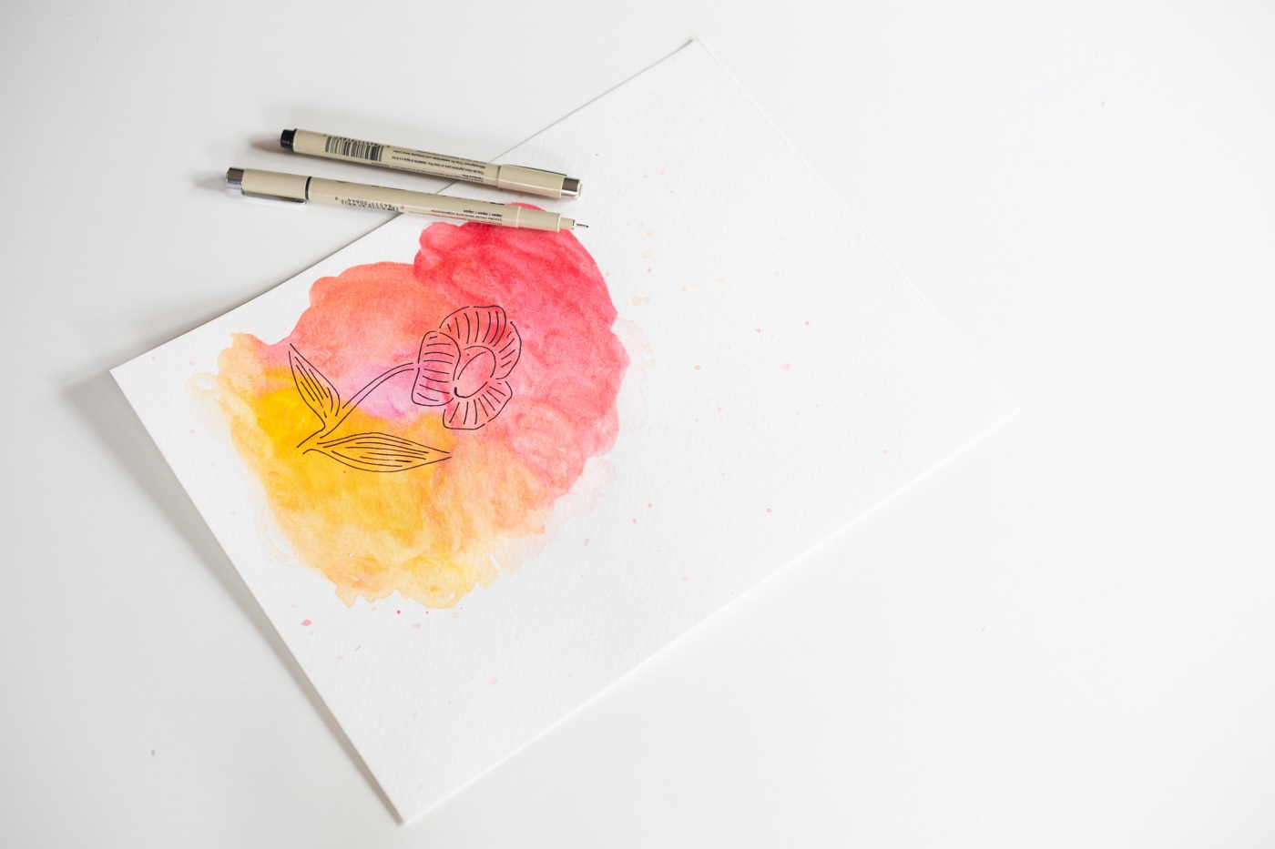 finished flower stencil watercolor painting pop shop america
