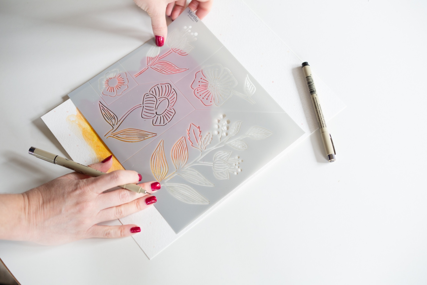 how to stencil with watercolor art tutorial pop shop america
