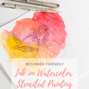 ink on watercolor stenciled painting tutorial pop shop america