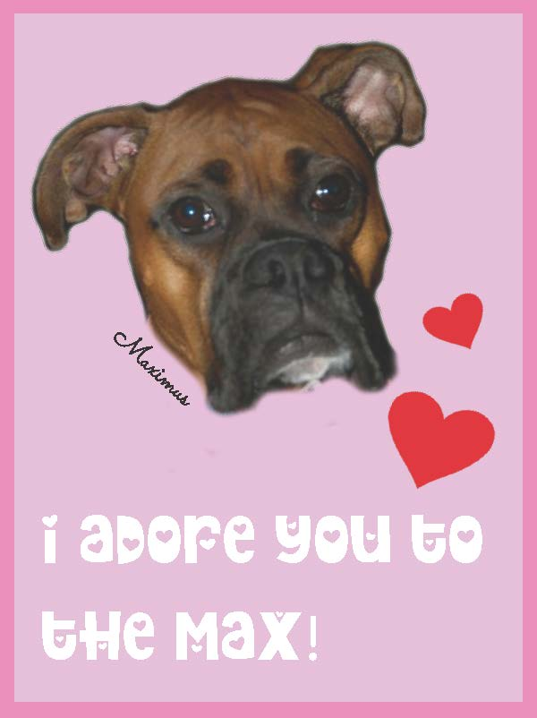 max boxer dog pink printable valentine card