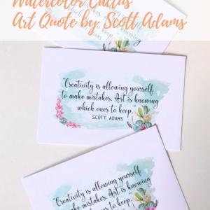 watercolor cactus art quote printable pop shop america
