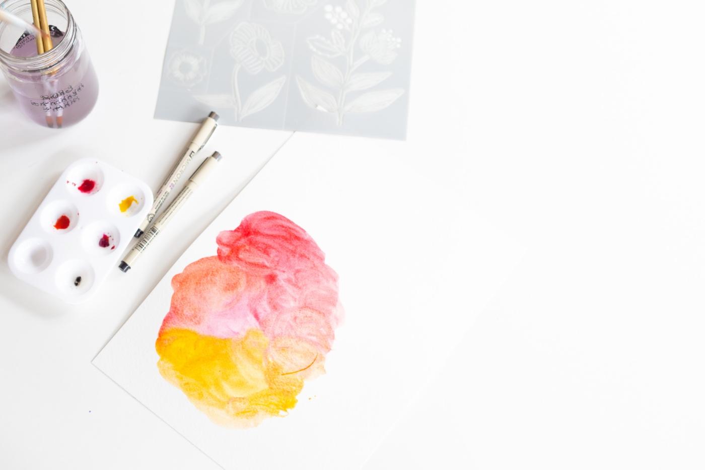 watercolor color blending and stenciling tutorial pop shop america