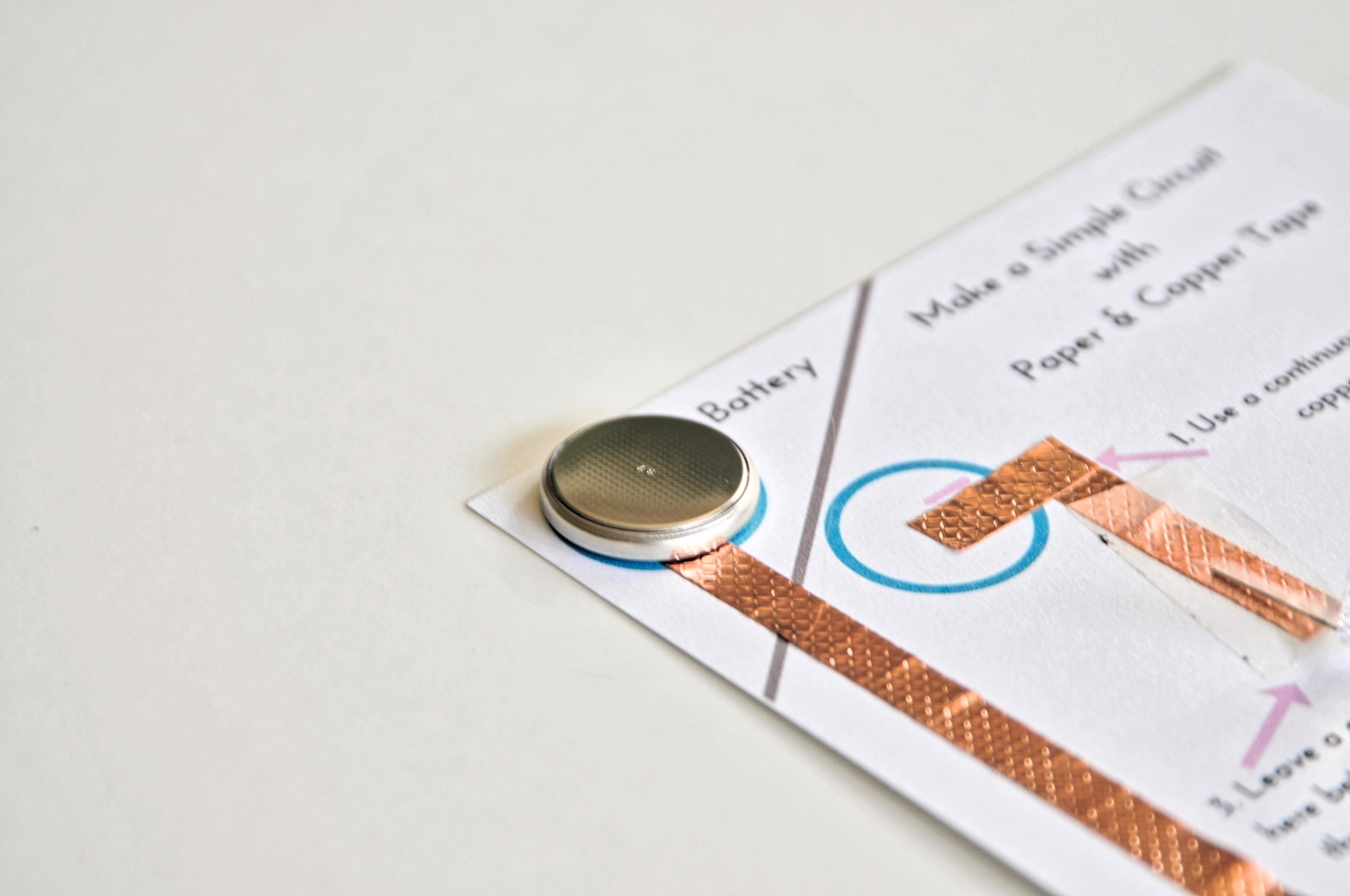 add the battery to the paper circuit template pop shop america