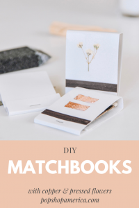 diy matchbooks with copper and pressed flowers