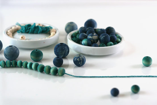 indigo dyed necklace wood beads hilary l hahn