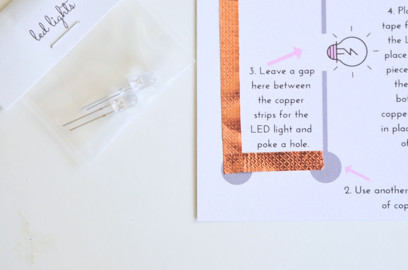 make a corner with copper tape led light circuit