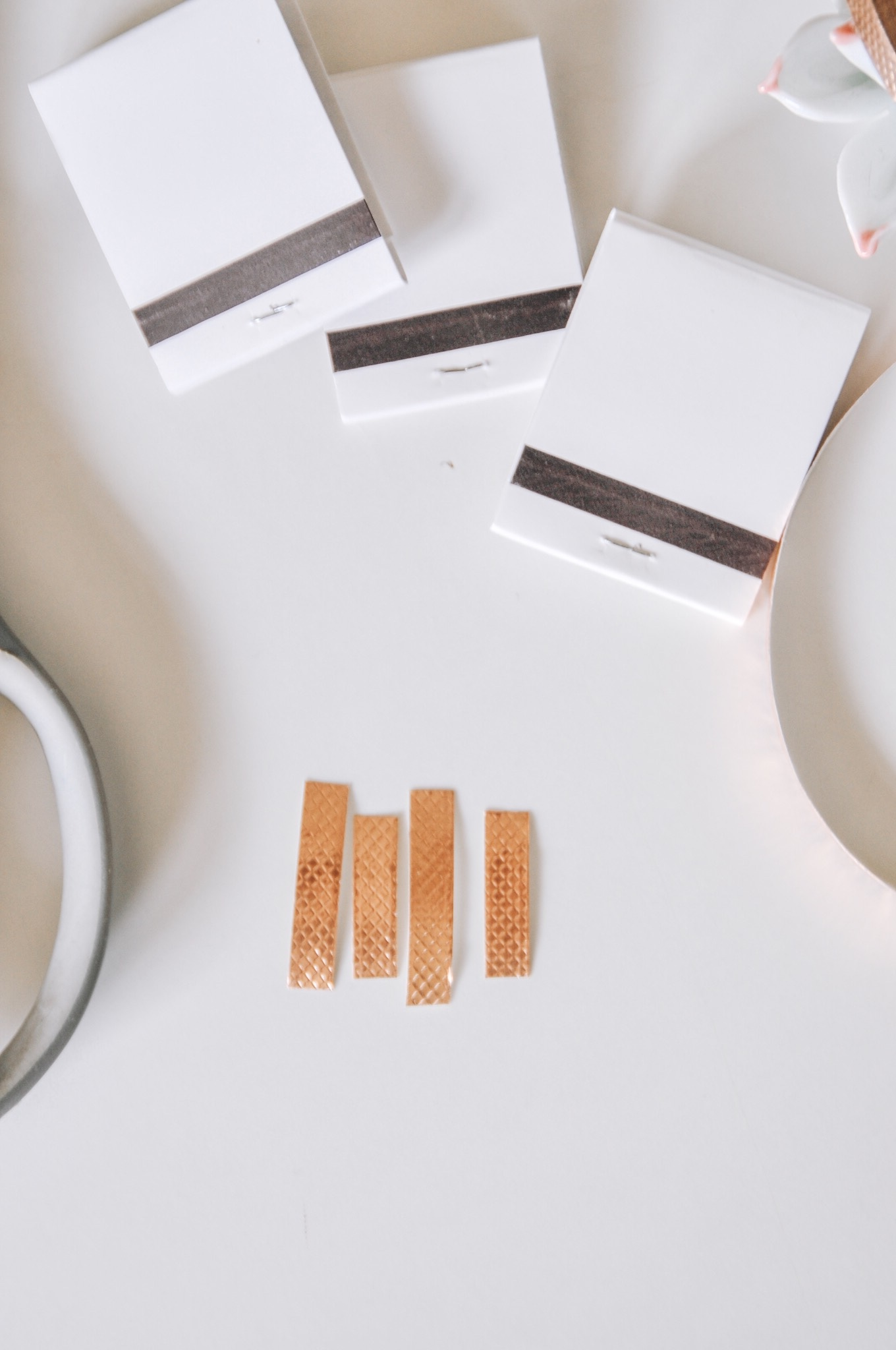 supplies to diy matchbooks with copper