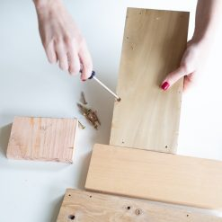 add the screws to the diy wood planter box