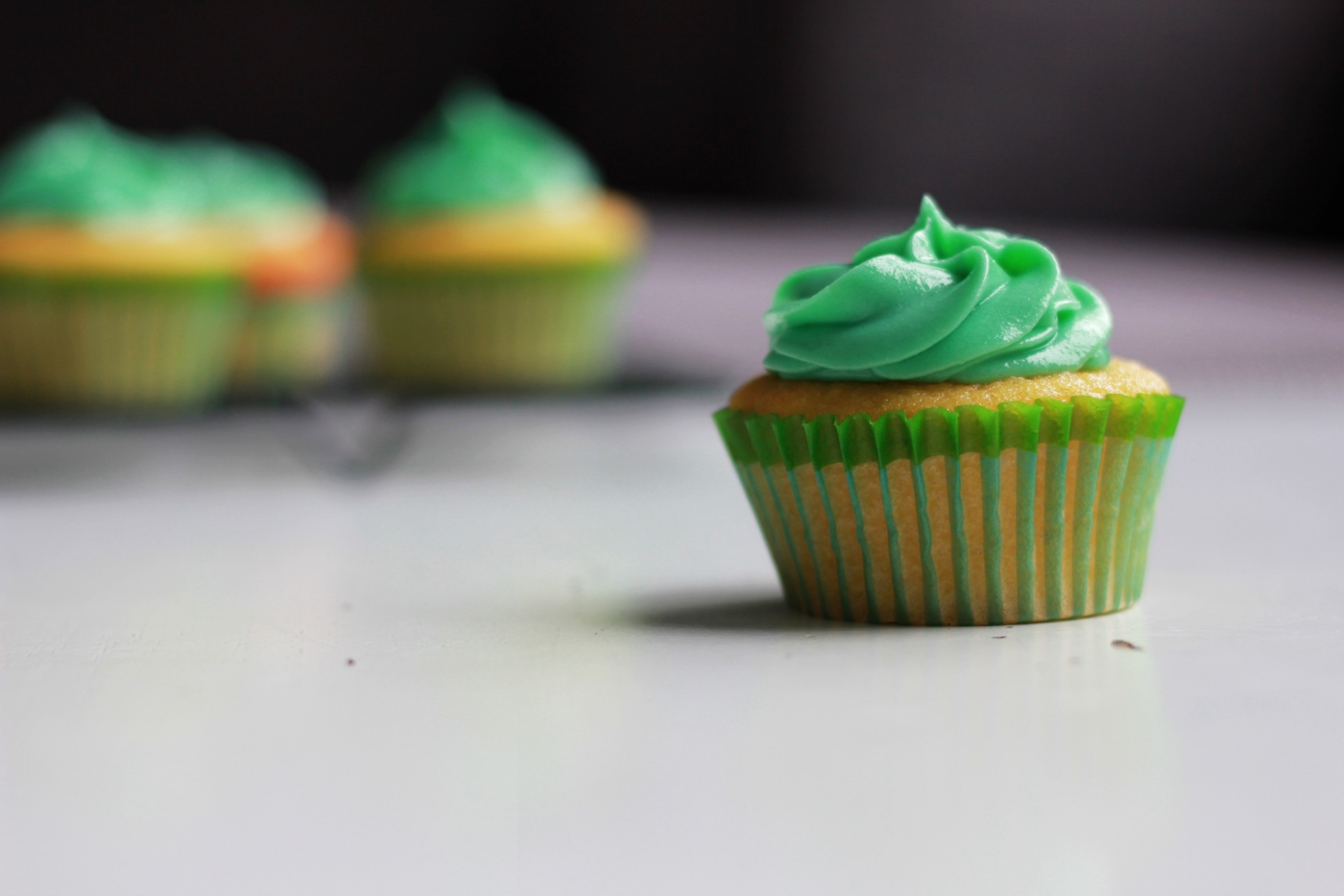 detail of green cupcakes buttermilk cupcakes for st. patricks day