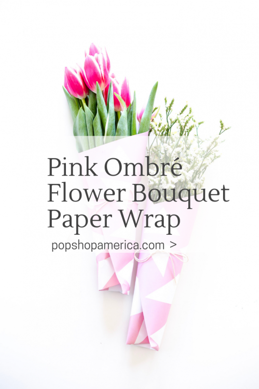 pink ombre flower bouquet paper wrap free printable