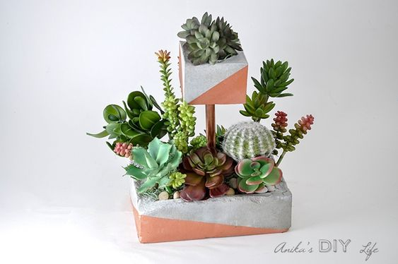 2 tiered concrete plant tutorial stand by Anika's DIY Life