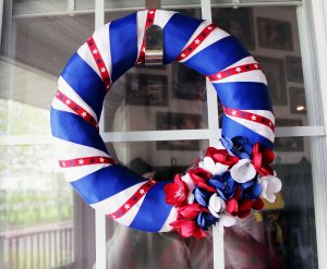 completed diy patriotic wreath on door