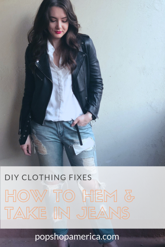diy clothing fixes hem and take in jeans