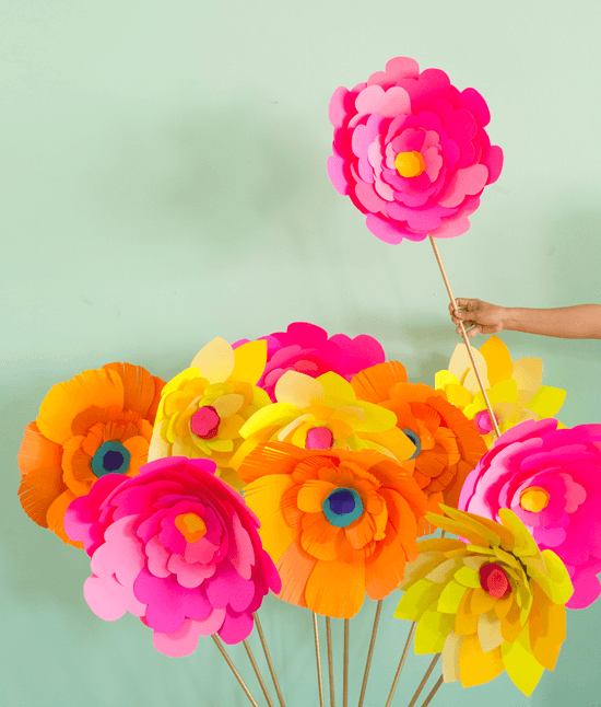 giant neon flowers tutorial by oh joy blog