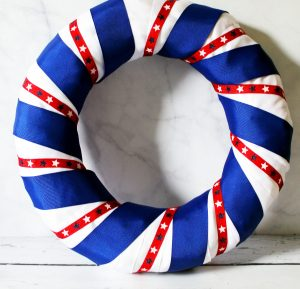 red white and blue wrapped diy patriotic wreath