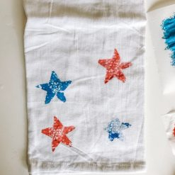 acrylic paint stamped star tea towels pop shop america diy