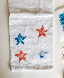 acrylic paint stamped star tea towels pop shop america diy