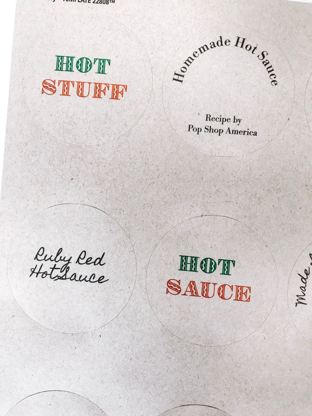 detail of the free printable hot sauce bottle stickers