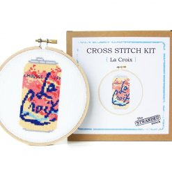 embroidery kit with la croix seltzer - craft supply shop