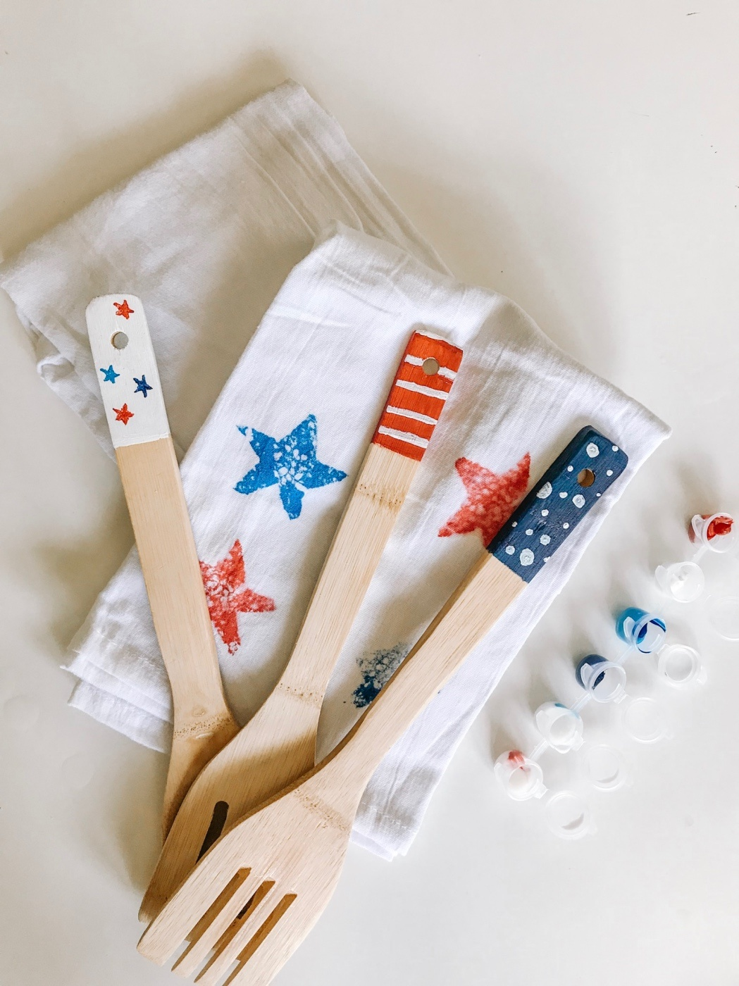 finished hand painted wooden spoons for 4th of july