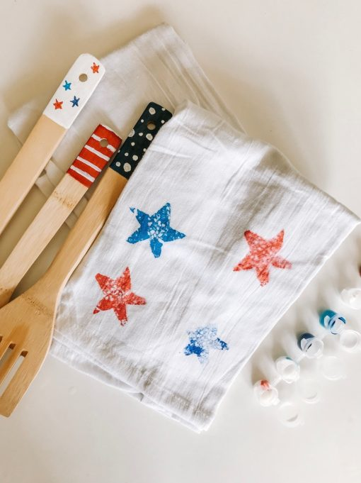 finished star stamped kitchen towels diy pop shop america