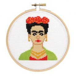 frida kahlo cross stitch kit pop shop america