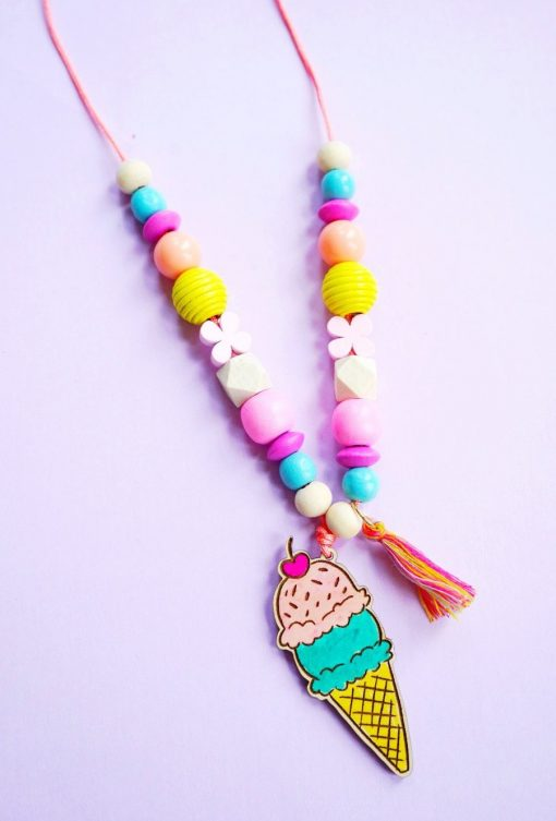 make your own ice cream necklace diy jewelry set