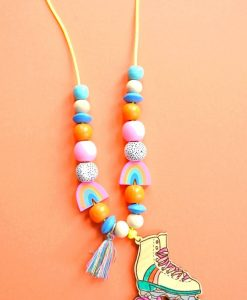 make your own rollerskate necklace jewelry supply kit