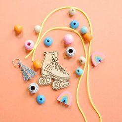 make your own wooden rollerskate necklace kit jewelry supplies pop shop america