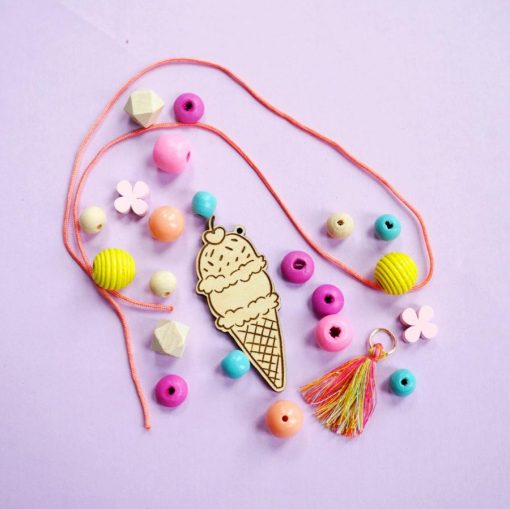 wood ice cream cone necklace jewelry supply set hazel and ollie diy kit