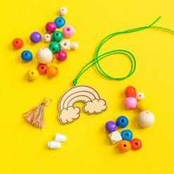 wood rainbow and bead necklace diy kit hazel and ollie pop shop america