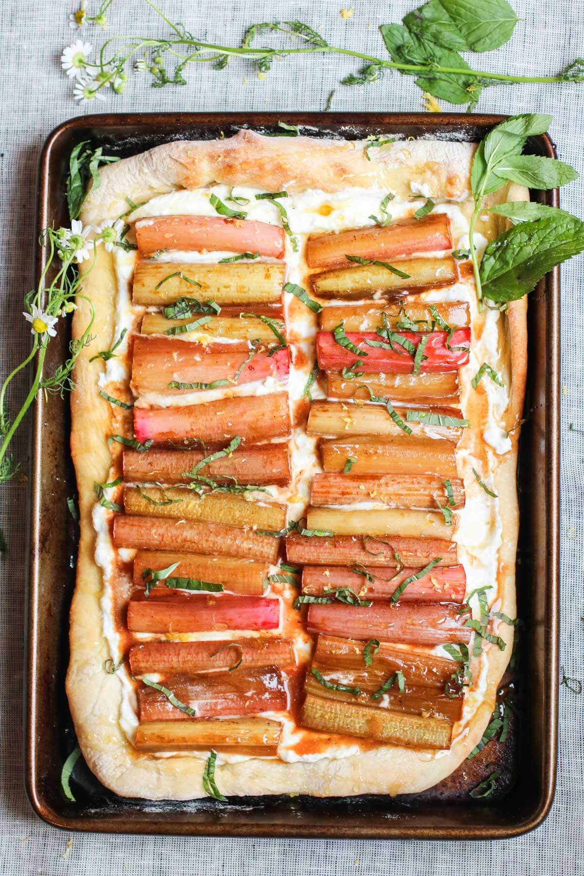 Ricotta-Flatbread-with-Roasted-Rhubarb-Honey-and-Mint-1
