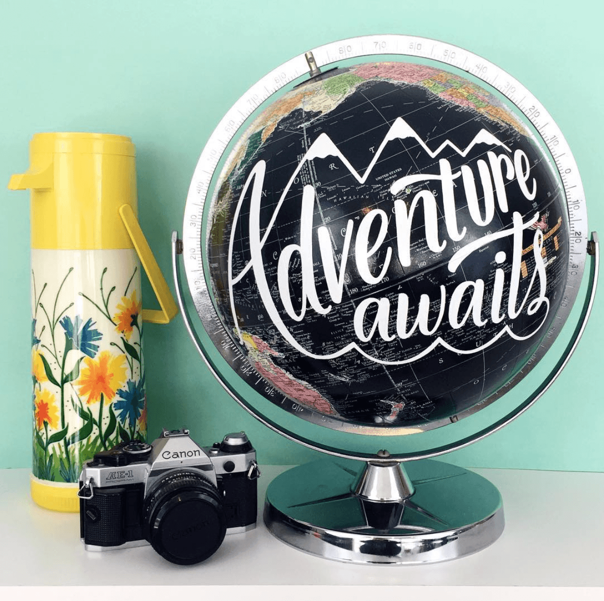 adventure awaits hand painted globe pop shop america