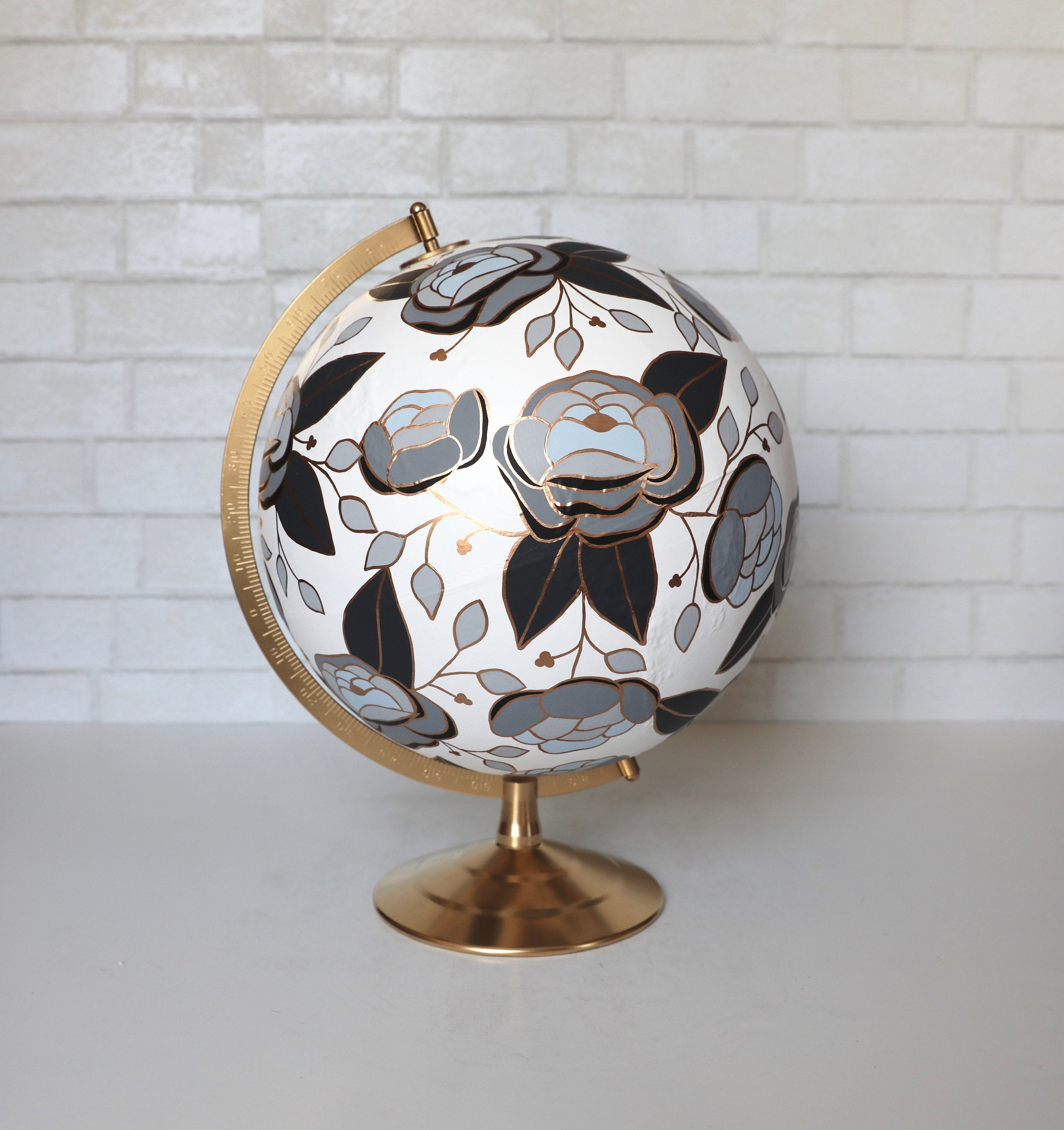 black white and floral globe
