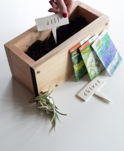 cedar wood planter box herb starter kit