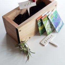 cedar wood planter box herb starter kit