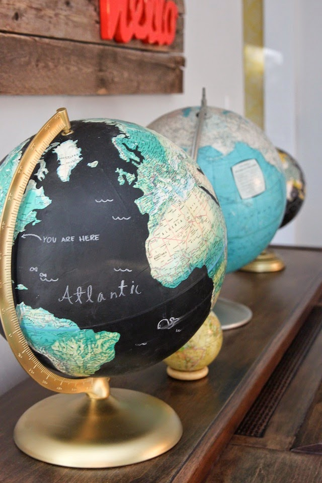 chalkboard painted globe by colors and crafts
